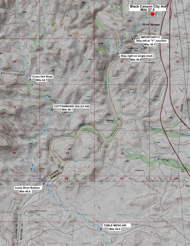 100K Map Part 5 - Black Canyon City to Cottonwood Gulch